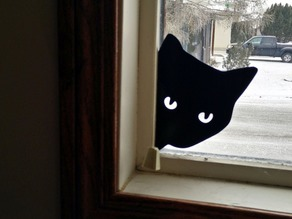 Peeking Cat Silhouette