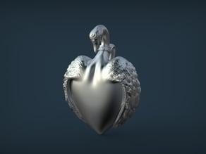 Swan Heart Pendant