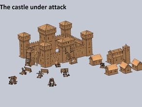 "Flattened and CUTTABLE ""Castle Under Attack"" - Original laser cut model by Andrea Garuti"