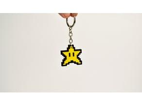 8bit Star Mario Keychain