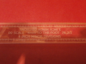 00 SCALE RULER 4MM TO THE FOOT 1:76.2