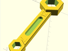 Hex wrench with 2 sizes (OPENSCAD, customizable), Ringschlüssel 7mm / 12mm