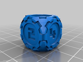 D6 Futuristic Rounded Gears Dice - Numbers