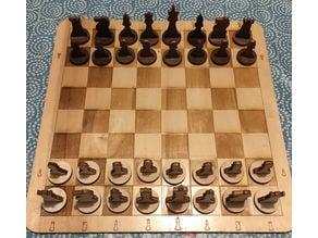 Lasercut Chess & Draught - Echiquier & Damier