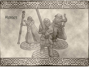 Hero Miniatures - Fighter, Ranger & Mage for Dungeons & Dragons or tabletop games.