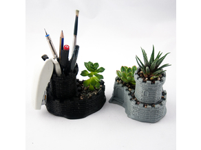 Multipurpose Castle Planter - Tower Planter And Pen Holder