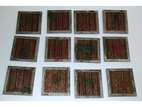 Wooden tile / plate for RPGs, 25mmx25mm