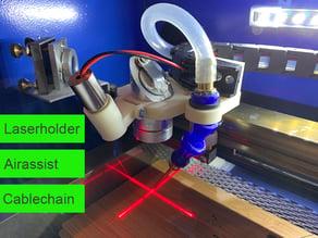 K40 Laser - Comboplate - Laserholder/Airassist/Cablechainholder