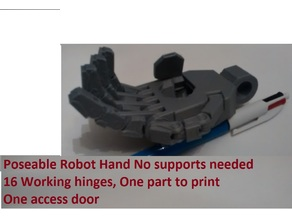 Robot poseable hand with access hatch