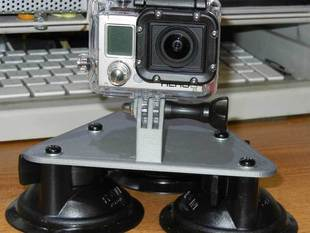 GoPro Camera 3 point suction cup mount. Hood mount