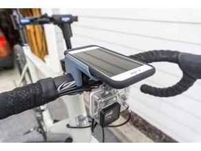 iPhone 7 Smart Battery Case bike handlebar mount with GoPro mount