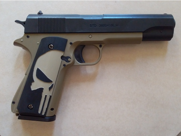 STD 1911 Manual Gel Blaster Punisher Grips by Superpoo