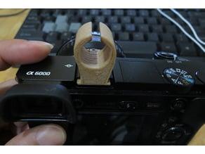 Camera hotshoe mic holder