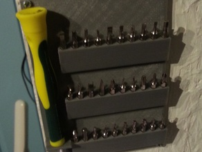 Holding rack for precision screwdriver and 30 bits