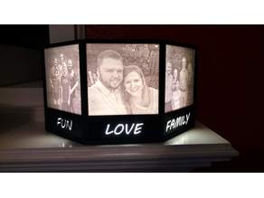 Lithophane Lamp Frame -- 3-panel with nameplates