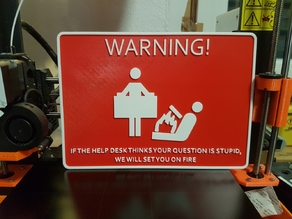 Help Desk sign (single extruder multi color print)