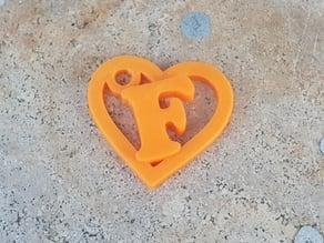 F Heart keychain