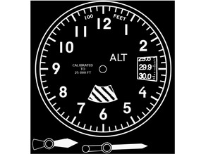 Altimeter Styled Wall Clock - 200mm face, hands, and frame