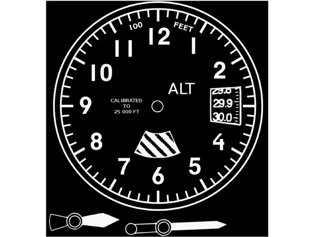 Altimeter Styled Wall Clock 200mm Face Hands And Frame