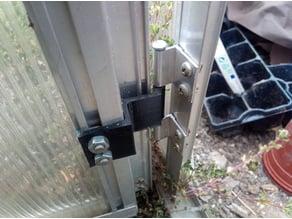 Greenhouse door hinge