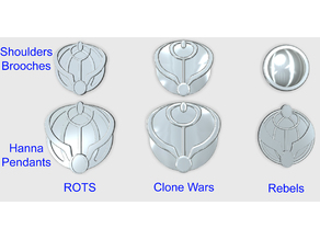 Mon Mothma Hanna pendants - 3 versions - Episode III ROTS - Clone Wars - Star Wars Rebels