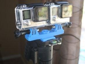 Stereo GoPro mount for Sunpak 6200 tripod