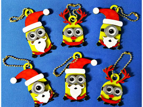 Minions Keychain / Magnets -Christmas cute version