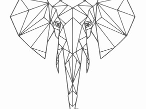 Geometric elephant wall sculpture