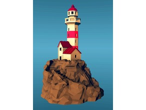 Lighthouse on a rock, low-poly edition