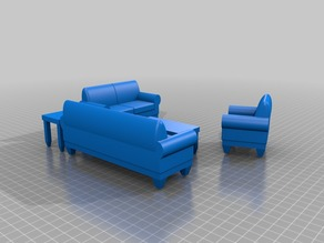 Dollhouse living room set - Sofa - Love Seat - Chair - tables