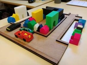 maquette d'un paté de maisons lasercut + 3D