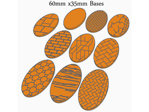 60x35mm Oval Bases (x18) for Dungeons & Dragons or Wahammer 40k tabletop Miniatures