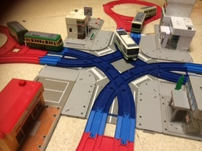 Plarail duble-track curve cross rail for tram
