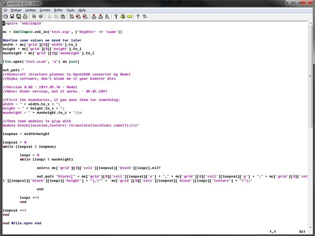 Minecraft structure planner to OpenSCAD Ruby converter by Nudel_P
