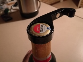 One handed bottle opener with twist off gripper