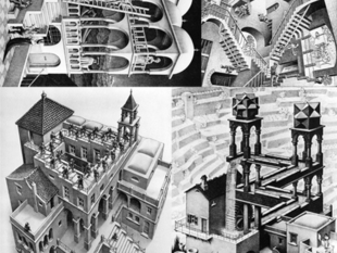 4x 3D'd 2D = 1&only M.C. Escher lithopanes