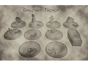 32mm Undead and Cemetery Bases  - Graveyard Themed Set for Dungeons and Dragons, Warhammer of Tabletop fantasy games.