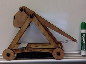 Laser Cut Desktop Trebuchet (larger, with wheels and jointed weight basket