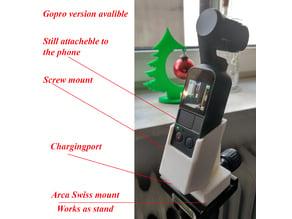 DJi Osmo pocket gimbal tripot gopro mount adapter stand