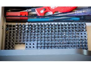 Modular screw bit organizer snap action blocks