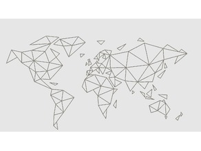 Low Poly World Map Wall Decoration