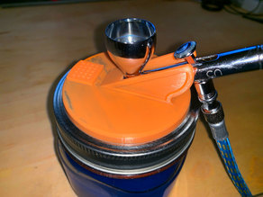 Wide mouth jar spray lid for Iwata CN NEO Airbrush