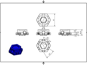 Gravitrax 25mm height block with lanes 120° and 60°