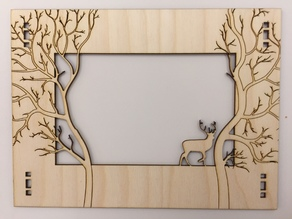Laser cut Forest Frame w/ Deer