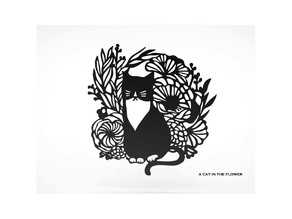 A Cat in the Flower Art  Wall Decoration