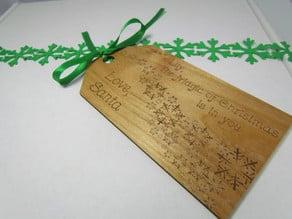 Laser Engraved Santa Gift Tag