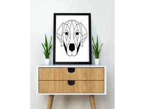 Labrador dog wall sculpture 2D