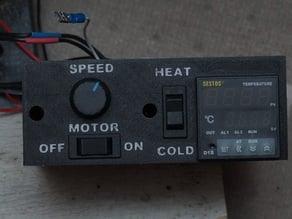 Filastruder control box for motor speed adjuster