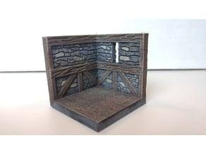 threednd stone wall corner window