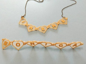 Heart chain with text